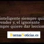 El inteligente siempre quiere aprender, y el ignorante siempre quiere dar lecciones