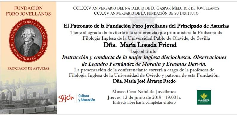 El Museo Casa Natal de Jovellanos acoge una conferencia sobre la mujer inglesa del siglo XVIII
