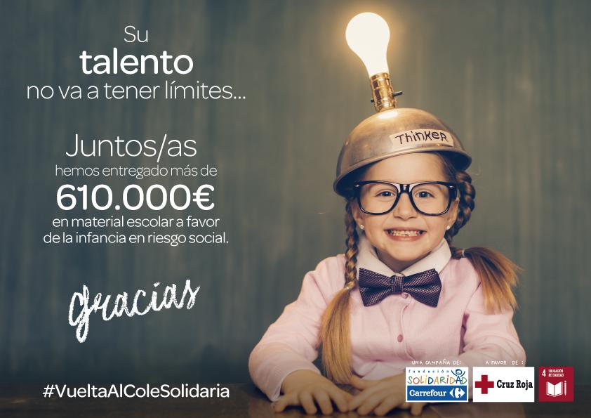 Fundación Solidaridad Carrefour entrega a Cruz Roja más de 610.000 euros en material escolar a favor de la infancia en riesgo social