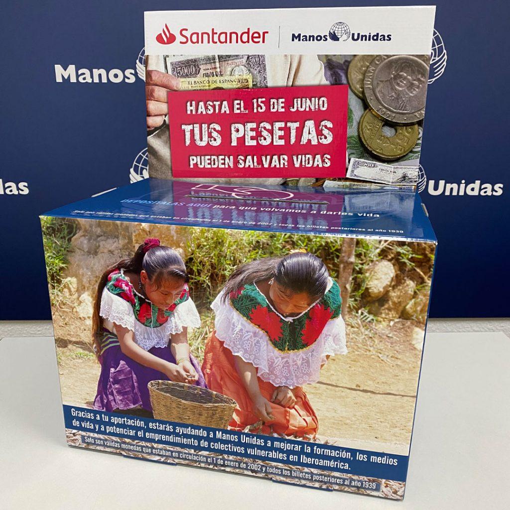 Banco Santander y Manos Unidas recogerán pesetas para convertirlas en un proyecto solidario