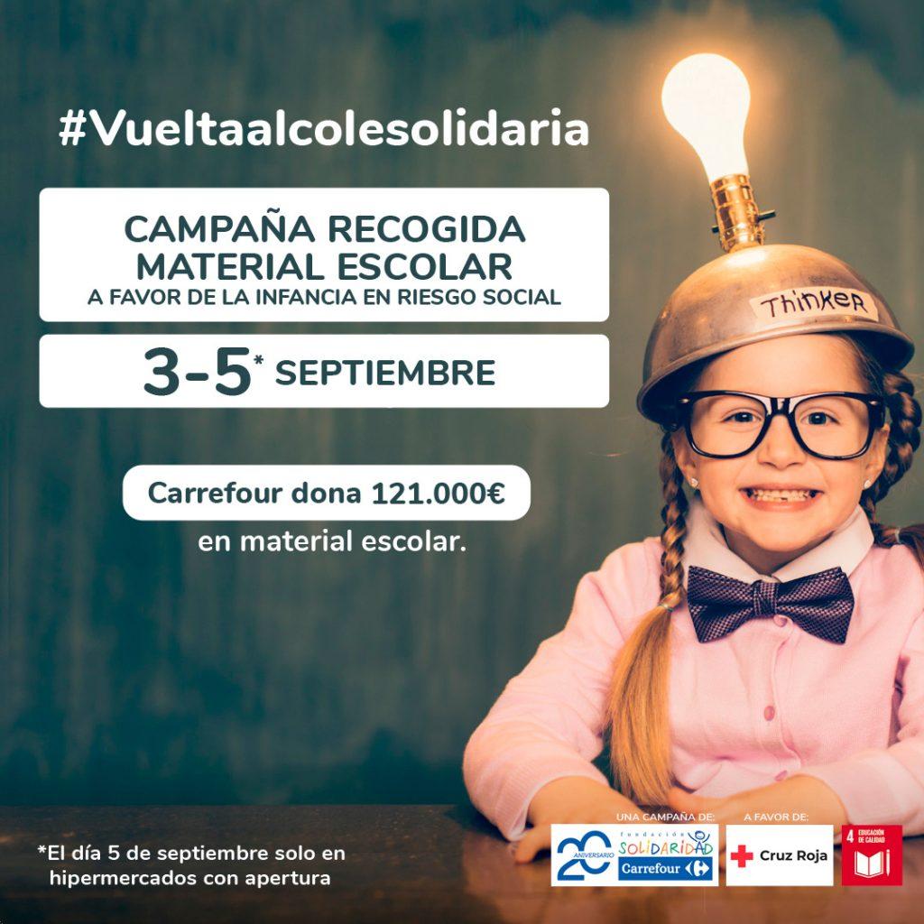 Fundación Solidaridad Carrefour y Cruz Roja promueven la 'Vuelta al Cole Solidaria 2021' a favor de la infancia en situación de vulnerabilidad social